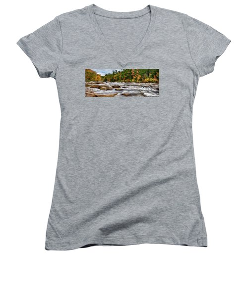 Swift River Runs Through Fall Colors Women's V-Neck