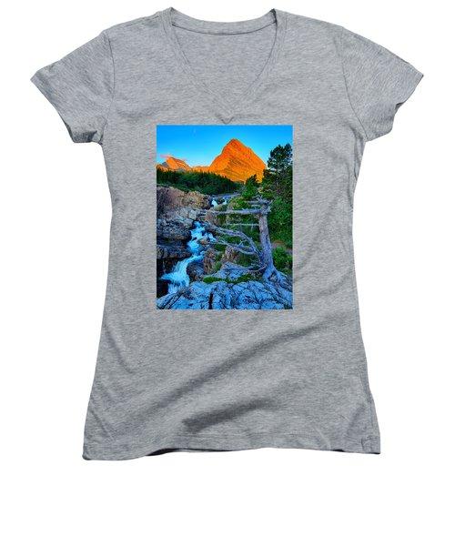 Swiftcurrent Falls Women's V-Neck T-Shirt (Junior Cut) by Greg Norrell