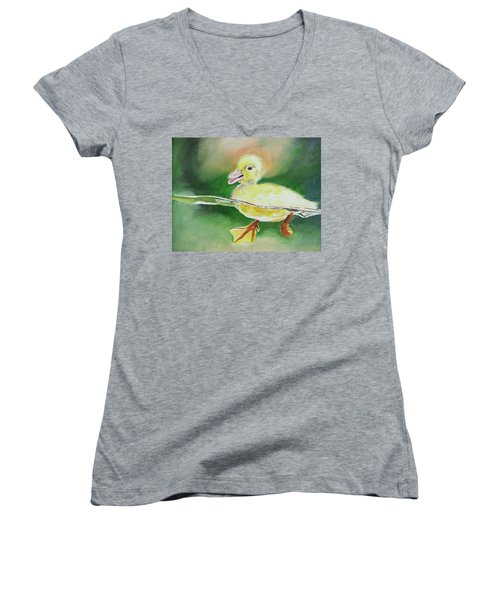Swimming Duckling Women's V-Neck (Athletic Fit)