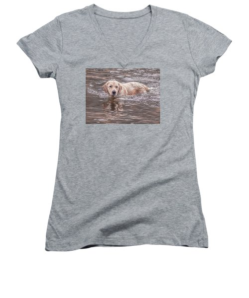 Swimming Puppy Women's V-Neck