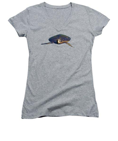 Swimming Turtle Women's V-Neck T-Shirt (Junior Cut) by Pamela Walton
