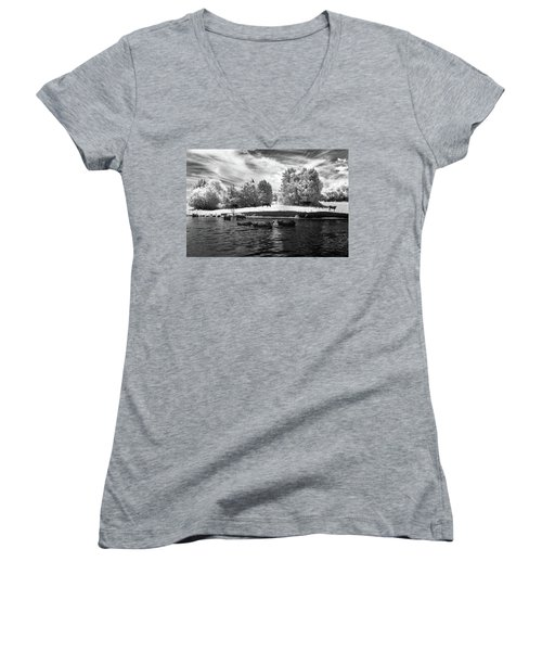 Swimming With Cows II Women's V-Neck T-Shirt (Junior Cut) by Paul Seymour
