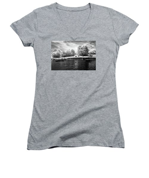 Swimming With Cows Women's V-Neck T-Shirt (Junior Cut) by Paul Seymour