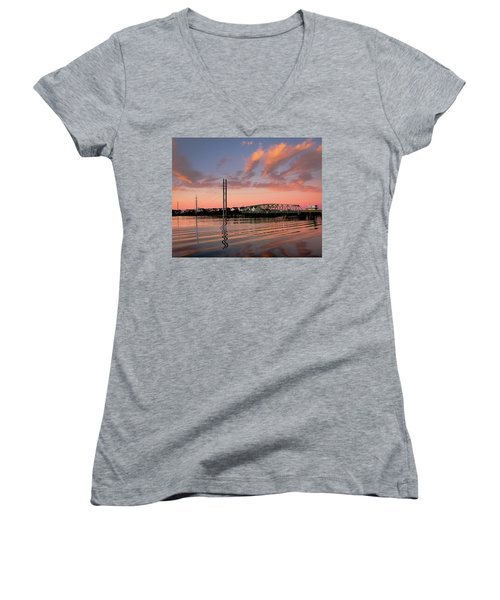 Swing Bridge At Sunset, Topsail Island, North Carolina Women's V-Neck T-Shirt (Junior Cut) by John Pagliuca