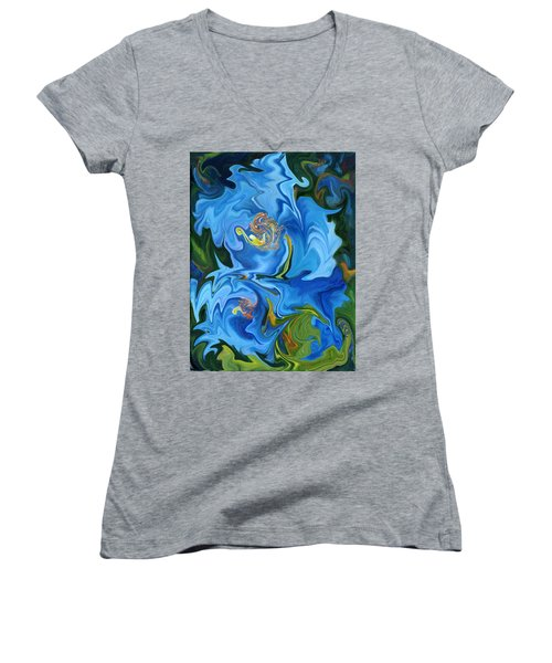 Swirled Blue Poppies Women's V-Neck T-Shirt (Junior Cut) by Renate Nadi Wesley