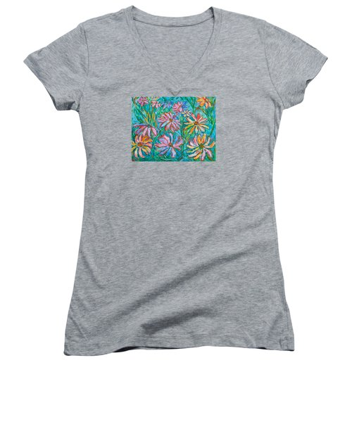 Women's V-Neck T-Shirt (Junior Cut) featuring the painting Swirling Color by Kendall Kessler