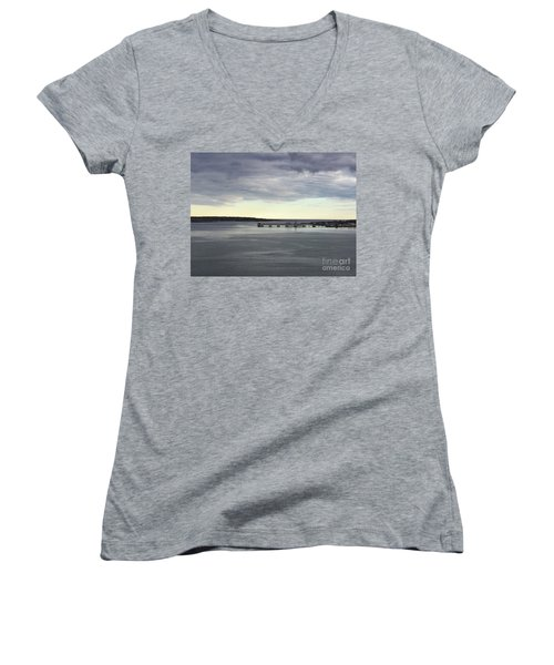 Swirling Currents On Casco Bay Women's V-Neck (Athletic Fit)