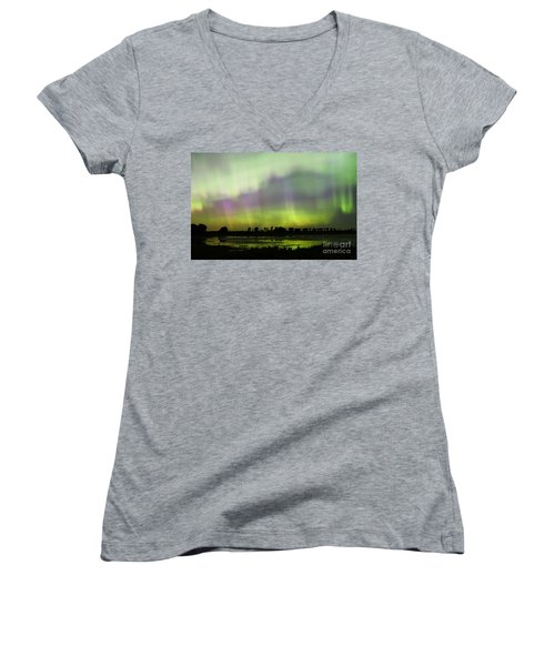 Women's V-Neck T-Shirt (Junior Cut) featuring the photograph Swirling Curtains 2 by Larry Ricker