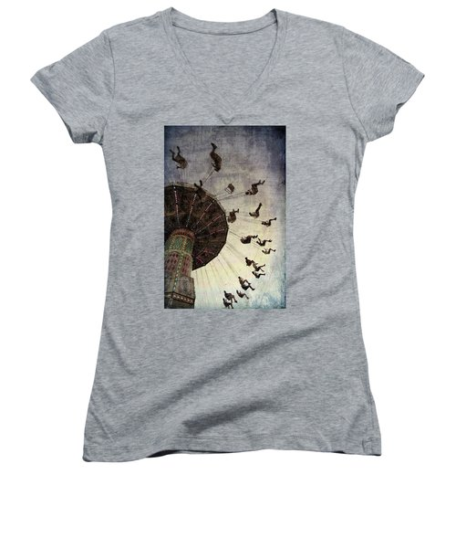Women's V-Neck T-Shirt (Junior Cut) featuring the photograph Swirling.... by Russell Styles