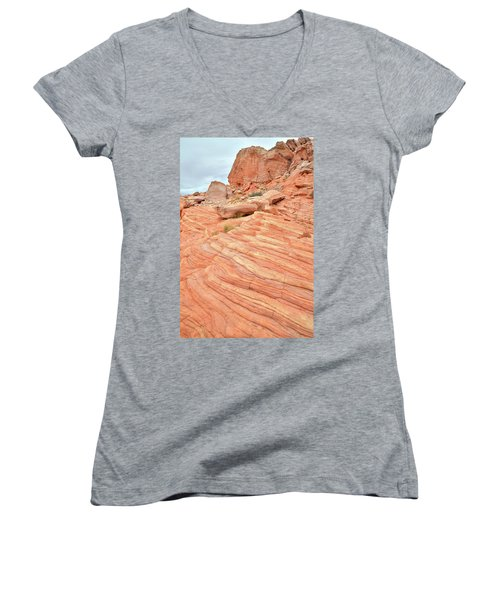 Women's V-Neck T-Shirt (Junior Cut) featuring the photograph Swirling Sandstone Color In Valley Of Fire by Ray Mathis