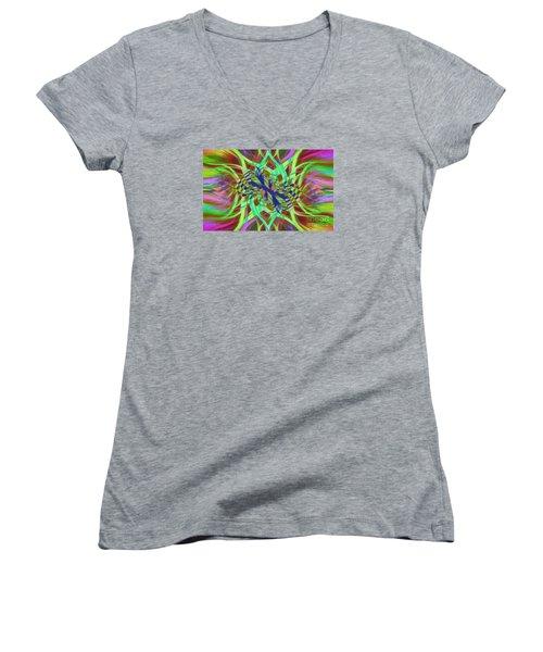 Swirly Floral Mandala 01 Women's V-Neck T-Shirt (Junior Cut) by Jack Torcello
