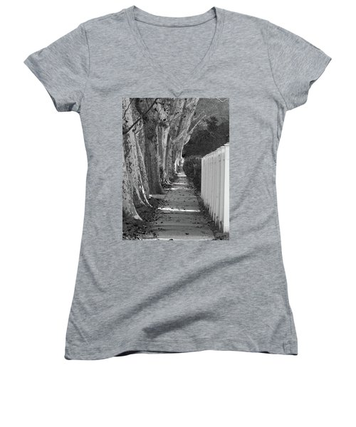 Sycamore Walk-grayscale Version Women's V-Neck (Athletic Fit)