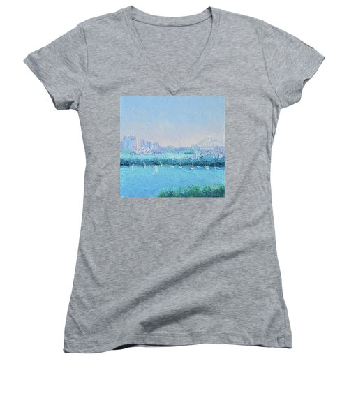 Sydney Harbour And The Opera House Women's V-Neck T-Shirt (Junior Cut) by Jan Matson