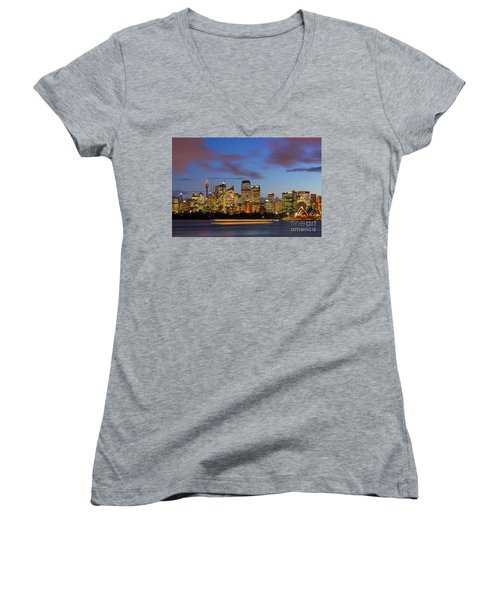 Sydney Harbour Sunset Women's V-Neck (Athletic Fit)