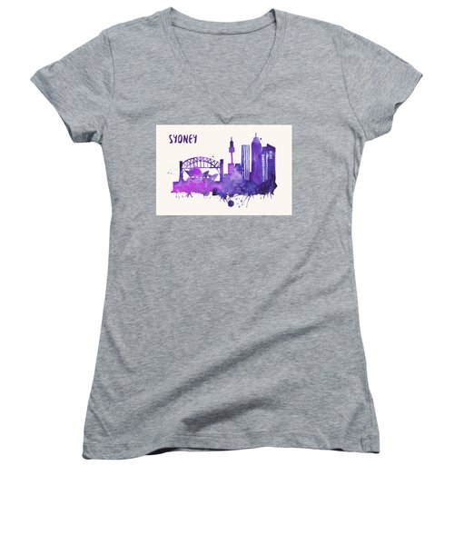 Sydney Skyline Watercolor Poster - Cityscape Painting Artwork Women's V-Neck T-Shirt (Junior Cut) by Beautify My Walls
