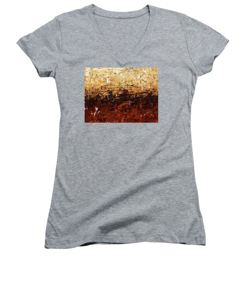 Women's V-Neck T-Shirt (Junior Cut) featuring the painting Symphony by Carmen Guedez