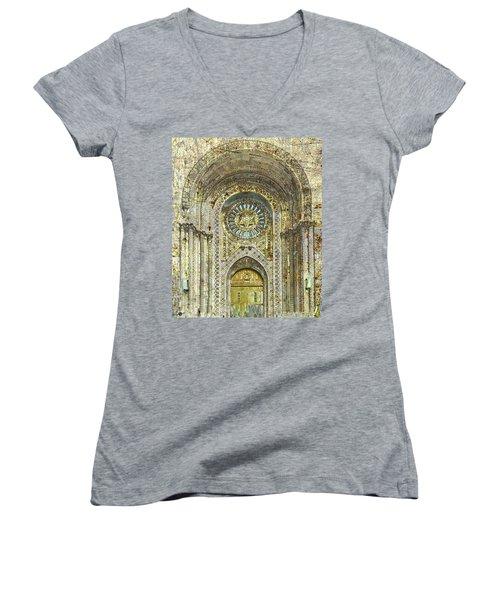 Women's V-Neck T-Shirt (Junior Cut) featuring the mixed media Synagogue by Tony Rubino