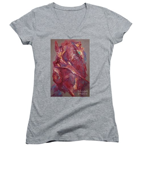 Women's V-Neck T-Shirt (Junior Cut) featuring the painting Syncopation 4 by Mini Arora