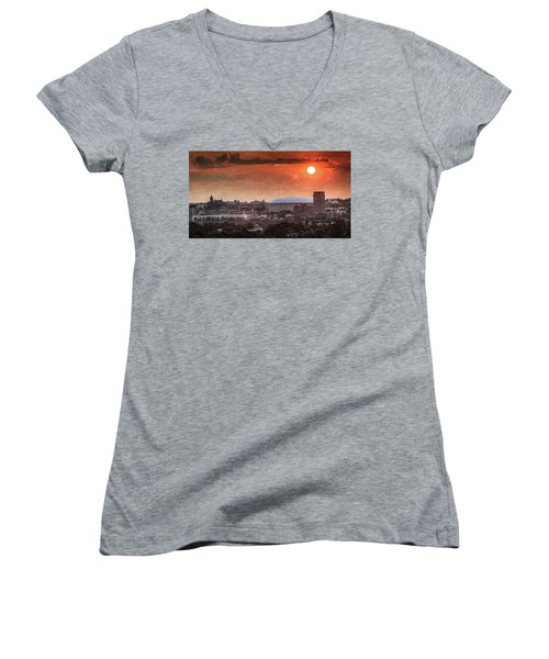 Syracuse Sunrise Over The Dome Women's V-Neck T-Shirt (Junior Cut) by Everet Regal