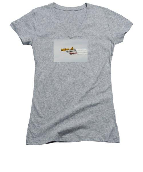 T-6 Texan   Rv-8   Dr-107 Women's V-Neck T-Shirt (Junior Cut) by Susan  McMenamin