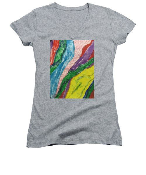 Women's V-Neck T-Shirt (Junior Cut) featuring the painting Artwork On T-shirt - 0010 by Mudiama Kammoh