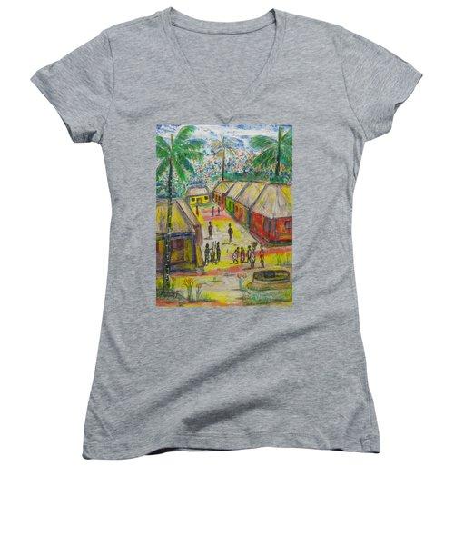 Women's V-Neck T-Shirt (Junior Cut) featuring the painting Artwork On T-shirt - 0012 by Mudiama Kammoh