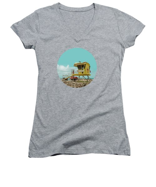 T7 Lifeguard Station Kapukaulua Beach Paia Maui Hawaii Women's V-Neck T-Shirt