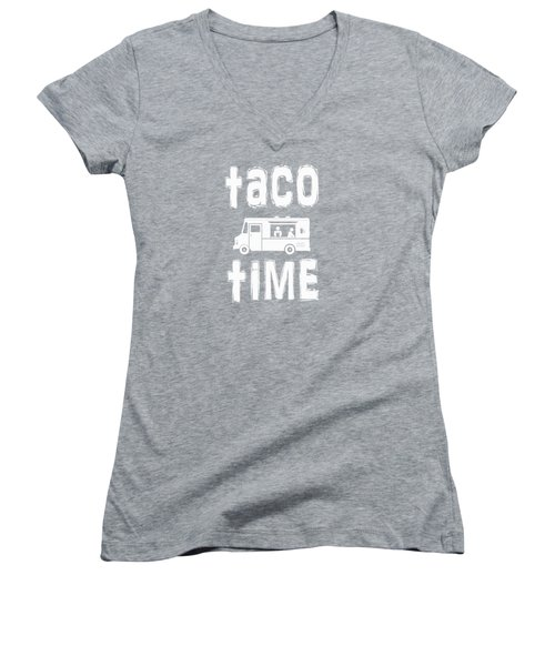 Women's V-Neck T-Shirt (Junior Cut) featuring the drawing Taco Time Food Truck Tee by Edward Fielding
