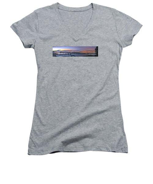 Tacoma Dawn Panorama Women's V-Neck T-Shirt