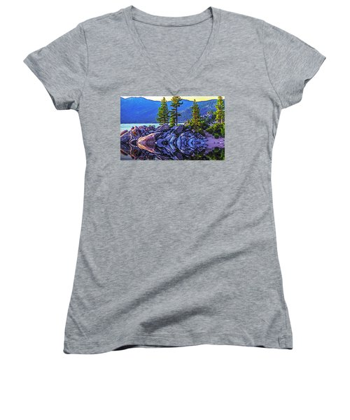 Tahoe Water Reflections Women's V-Neck T-Shirt (Junior Cut) by Nancy Marie Ricketts