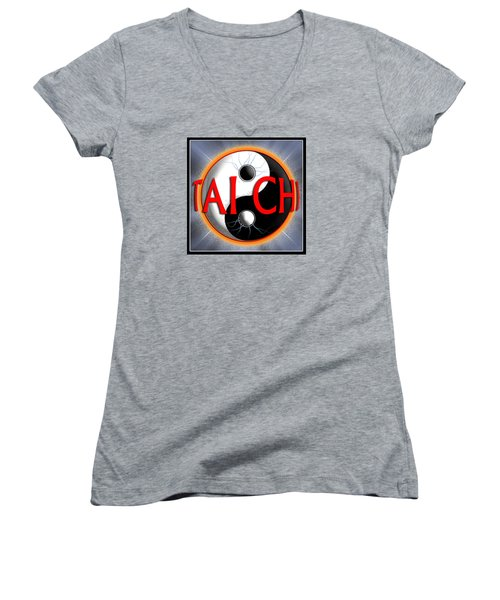Women's V-Neck T-Shirt (Junior Cut) featuring the digital art Tai Chi by Steve Sperry