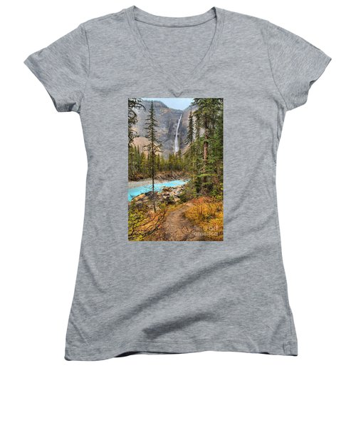 Women's V-Neck T-Shirt (Junior Cut) featuring the photograph Takakkaw Falls Fall Portrait by Adam Jewell