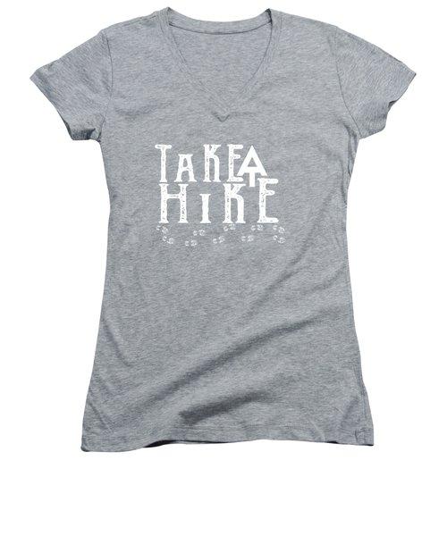 Take A Hike  Women's V-Neck T-Shirt (Junior Cut) by Heather Applegate