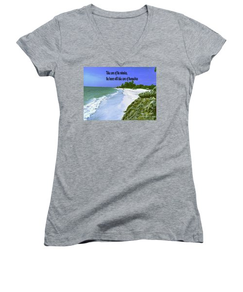 Women's V-Neck T-Shirt (Junior Cut) featuring the photograph Take Care Of The Minutes by Gary Wonning