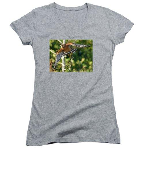 Take Off Women's V-Neck T-Shirt (Junior Cut) by Don Durfee