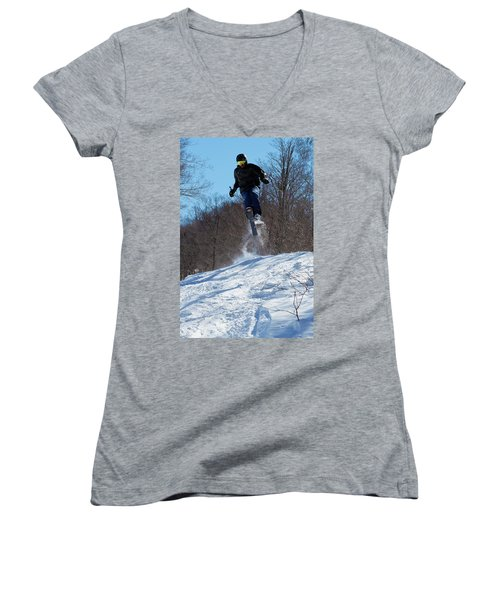 Women's V-Neck T-Shirt (Junior Cut) featuring the photograph Taking Air On Mccauley Mountain by David Patterson