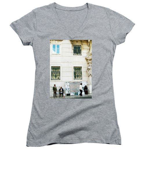 Women's V-Neck T-Shirt (Junior Cut) featuring the photograph Taking It To The Streets by Lorraine Devon Wilke