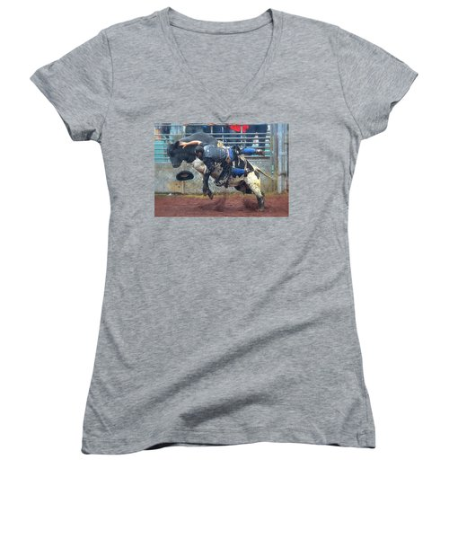 Women's V-Neck T-Shirt (Junior Cut) featuring the photograph Taking The Fall by Lori Seaman