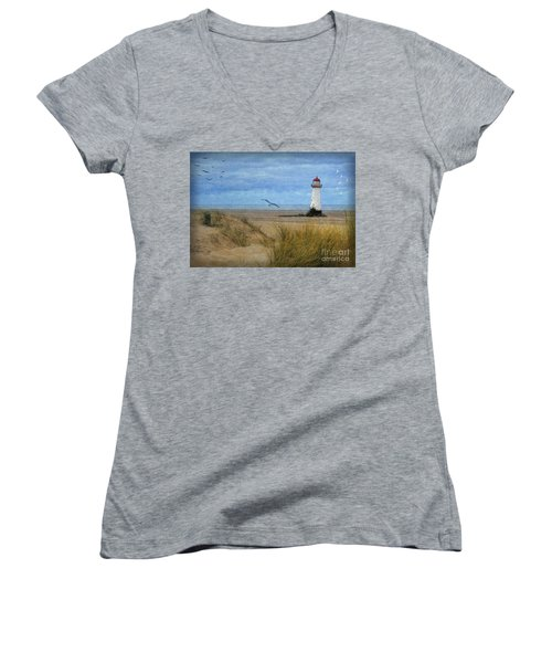 Women's V-Neck T-Shirt (Junior Cut) featuring the digital art Talacre Lighthouse - Wales by Lianne Schneider