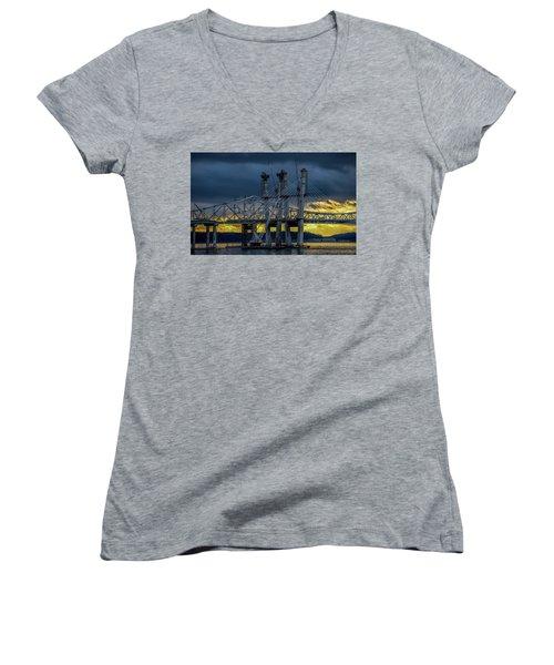 Tale Of 2 Bridges At Sunset Women's V-Neck T-Shirt (Junior Cut) by Jeffrey Friedkin