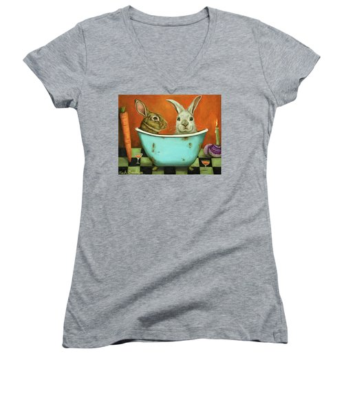 Women's V-Neck T-Shirt (Junior Cut) featuring the painting Tale Of Two Bunnies by Leah Saulnier The Painting Maniac