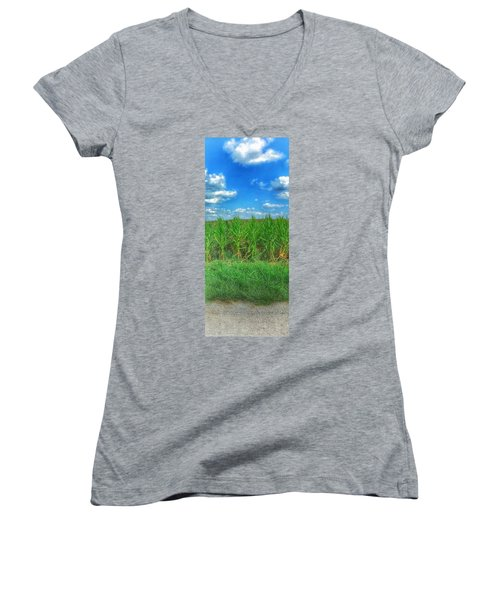 Women's V-Neck T-Shirt (Junior Cut) featuring the photograph Tall Corn by Jame Hayes