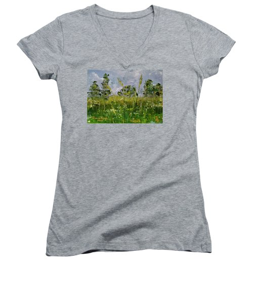 Women's V-Neck T-Shirt featuring the painting Tall Grass by Judith Rhue