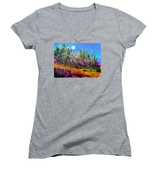 Women's V-Neck T-Shirt (Junior Cut) featuring the painting Tall Left And Front by John Williams
