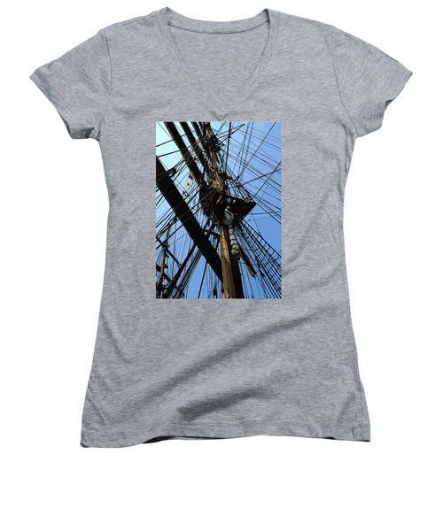 Tall Ship Design By John Foster Dyess Women's V-Neck (Athletic Fit)