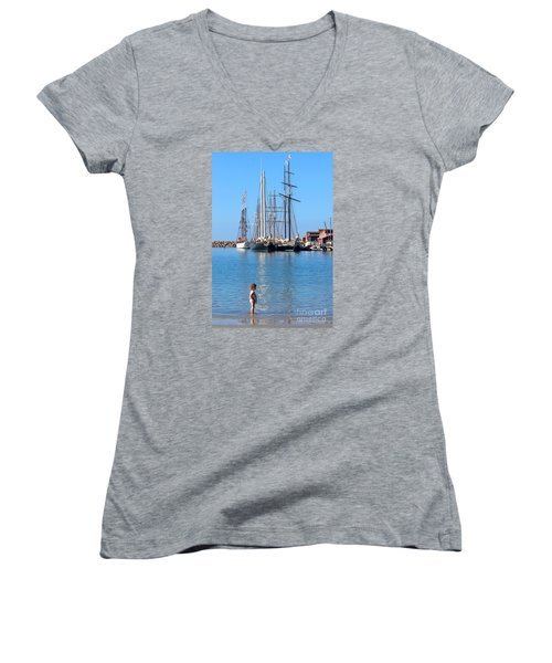 Tall Ship Festival Women's V-Neck T-Shirt (Junior Cut) by Cheryl Del Toro