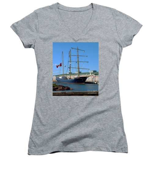 Women's V-Neck T-Shirt (Junior Cut) featuring the photograph Tall Ship Waiting by RC DeWinter