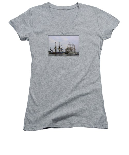 Historic Tall Ships Hermione And Sagres Women's V-Neck (Athletic Fit)