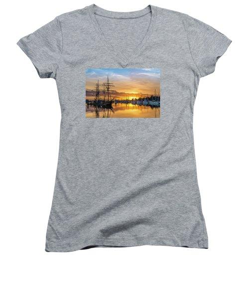Tall Ships Sunset 1 Women's V-Neck T-Shirt (Junior Cut) by Greg Nyquist