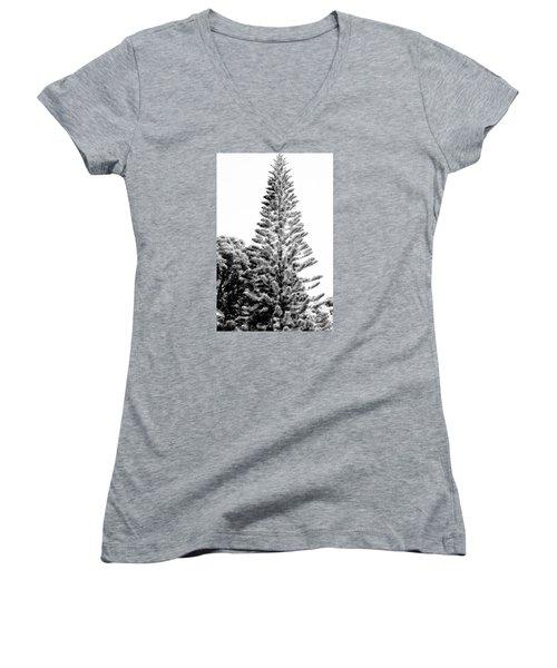 Tall Tree Bw - Lan11 Women's V-Neck T-Shirt (Junior Cut) by G L Sarti